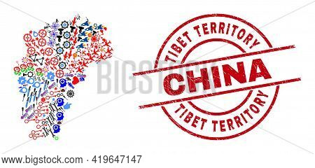 Jiangxi Province Map Collage And Textured Tibet Territory China Red Round Seal. Tibet Territory Chin