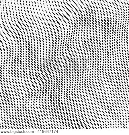 Trendy Grid Monochrome Texture From Wavy Cross Lines. Wavy Reticulated Effect Texture. Abstract Stri