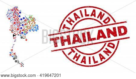 Thailand Map Collage And Unclean Thailand Red Circle Seal. Thailand Seal Uses Vector Lines And Arcs.