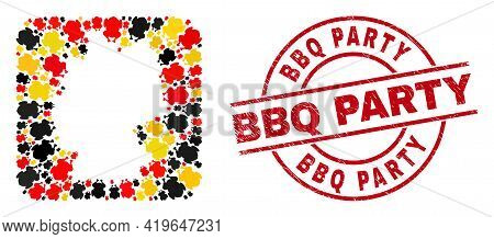 Germany Map Mosaic In Germany Flag Official Colors - Red, Yellow, Black, And Grunge Bbq Party Red Ci