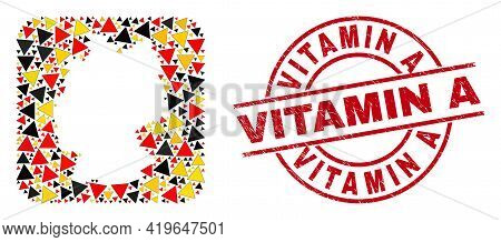 Germany Map Mosaic In Germany Flag Official Colors - Red, Yellow, Black, And Distress Vitamin A Red