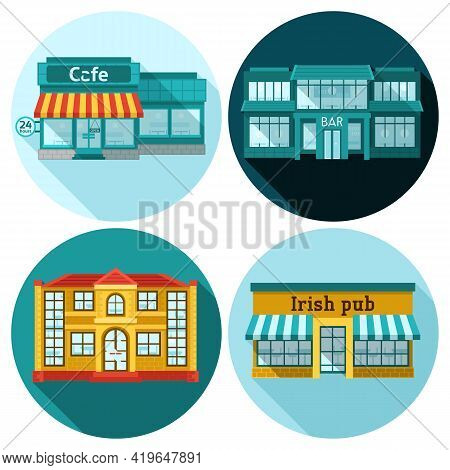 Cafe Building Front Exterior Flat Icons Set Isolated Vector Illustration