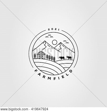 Barn, Livestock, Farming Logo. Cattle, Mountain, Wheat Logo Template Vector Illustration Design