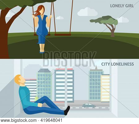 Lonely People Flat Horizontal Banner Set With Sad Girl Swinging And Man Sitting Alone At Home Isolat
