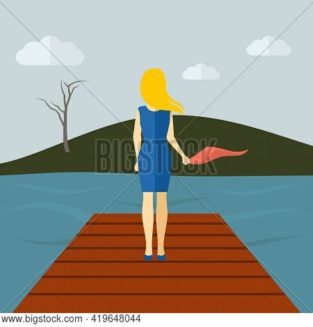 Lonely Girl Standing On A Lake Pier With Dry Tree And Grey Sky On Background Flat Vector Illustratio