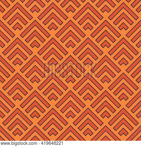 Seamless Pattern. Chevrons Ornament. Folk Motif. Geometric Background. Chevron Shapes Backdrop. Ethn