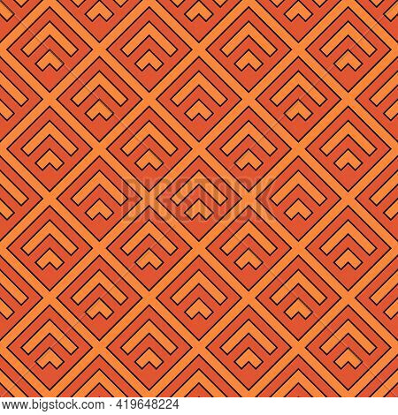 Seamless Pattern. Chevrons, Crossed Diagonal Lines Ornament. Brackets, Tilted Stripes Wallpaper. Cur