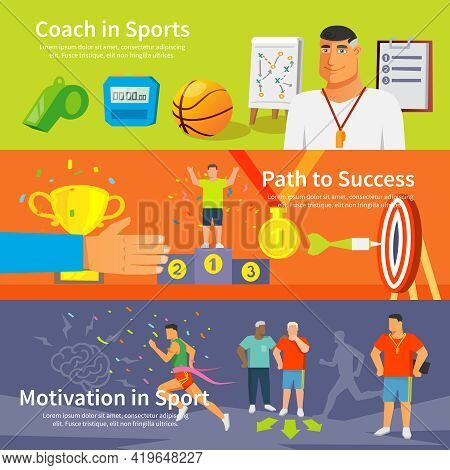 Coaching Horizontal Banner Set With Coaching Elements Isolated Vector Illustration