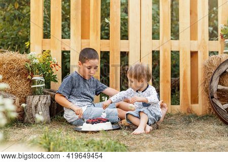 Boys Having Fun Together In Forest. Kids On A Picnic In Nature Have Fun. Happy Family Having Picnic.