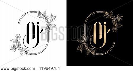Illustration Of Floral Frame For Aj Or Ai Initial Letter And Graphic Name, Monogram, For Wedding Cou
