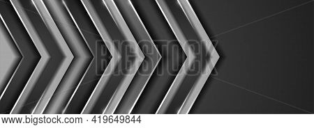 Abstract Metallic Silver Background Design With 3d Silver Arrow Concept. Graphic Design Element.
