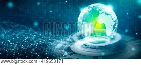 Global Social Network On Futuristic Abstract Background. Media Convergence, World Community Network,