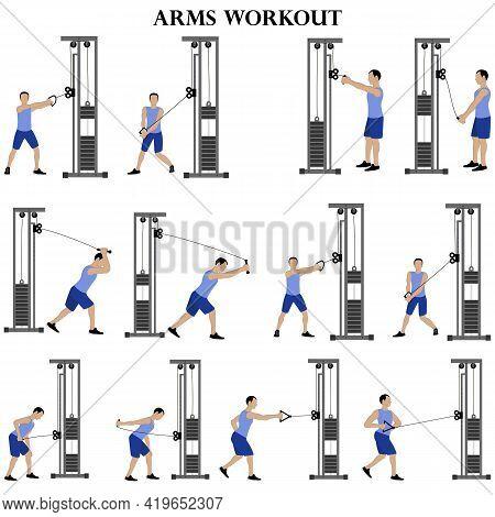 Workout Man Set. Arms Workout Vector Illustration