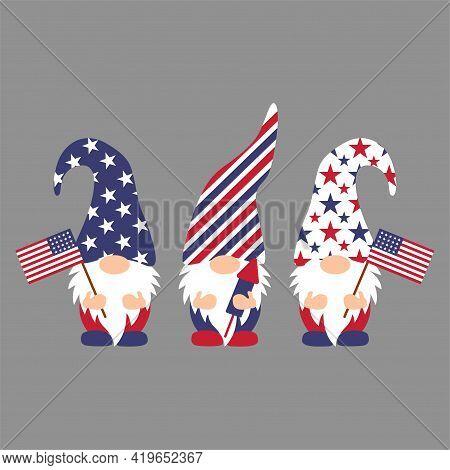 Patriotic Gnomes 4th Of July Gnomes Vector T Shirt Design