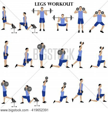 Workout Man Set. Legs Workout Illustration On The White Background. Vector Illustration
