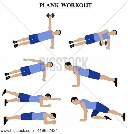 Workout Man Set. Plank Workout On The White Background. Vector Illustration