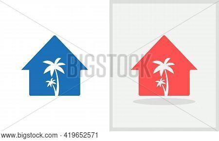 Palm House Logo Design. Home Logo With Palm Tree Concept Vector. Palm Tree And Home Logo Design