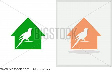 Parrot House Logo Design. Home Logo With Parrot Concept Vector. Parrot And Home Logo Design