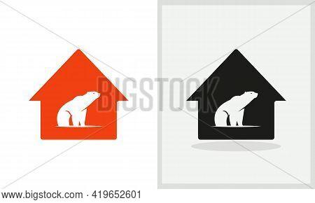 Bear House Logo Design. Home Logo With Polar Bear Concept Vector. Polar Bear And Home Logo Design