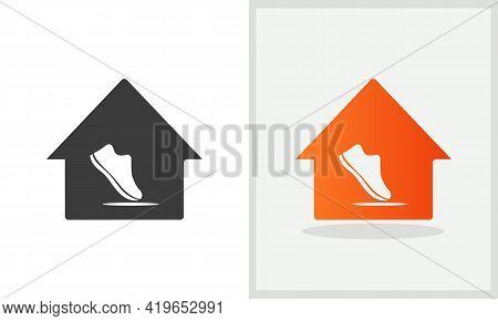 Shoe House Logo Design. Home Logo With Shoe Concept Vector. Shoe And Home Logo Design