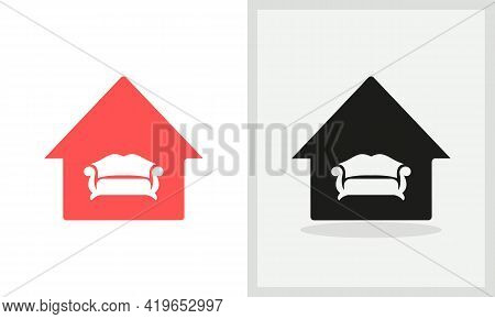 Sofa House Logo Design. Home Logo With Sofa Concept Vector. Sofa And Home Logo Design