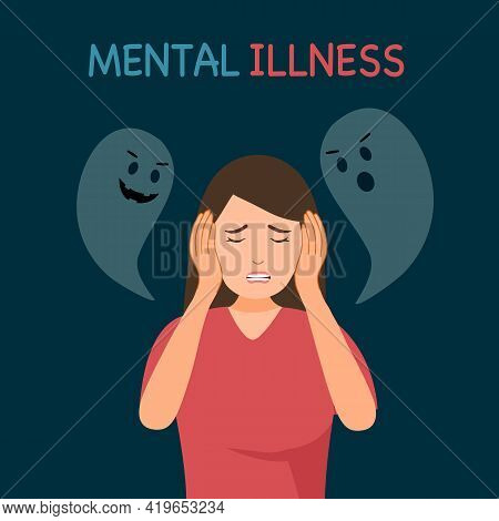 Woman With Mental Illness Or Mental Disorder Psychological Depression Concept. Psychotherapy. Patien