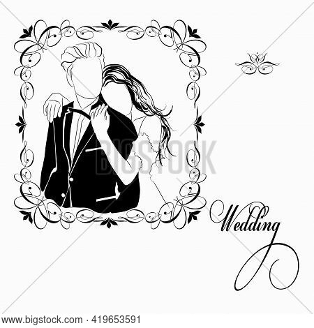 Vector Graphic Illustration Of A Young Couple Of People. An Image Of A Man And A Woman With The Insc