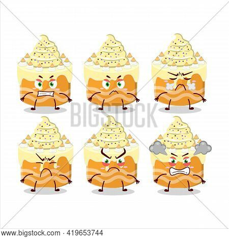 Sweety Cake Melon Cartoon Character With Various Angry Expressions