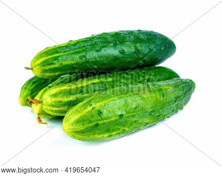 Green Cucumber Vegetable On A White Background. Green Cucumbers. Vegetables Of The Pumpkin Family. V