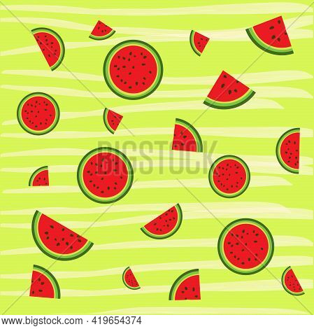 Slices Of Watermelon On The Green. Watermelon Background.