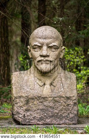 Druskininkai, Lithuania - May 1 2021: Lenin Marble Sculpture Bust, Chairman Of The Council Of People