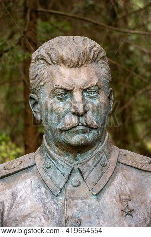 Druskininkai, Lithuania - May 1 2021: Stalin Bronze Sculpture Bust, Russian Revolutionary, Politicia