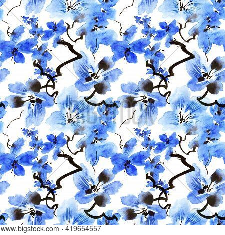 Watercolor Illustration Of Blossom Tree Branch With Blue Flowers - Seamless Pattern. Oriental Tradit