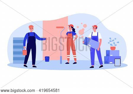 Professional Repairmen Repairing Apartment. Wall, Uniform, Painting Flat Vector Illustration. Renova