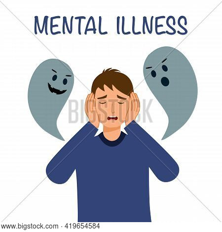 Man With Mental Illness Or Mental Disorder Psychological Depression Concept. Psychotherapy. Patient