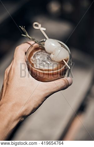 Close Up Ice Americano In Coffee Shop Background.