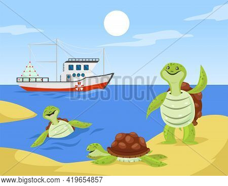 Group Of Turtles Cartoon Characters On Seashore Illustration. Happy Tortoise Family Or Friends Playi