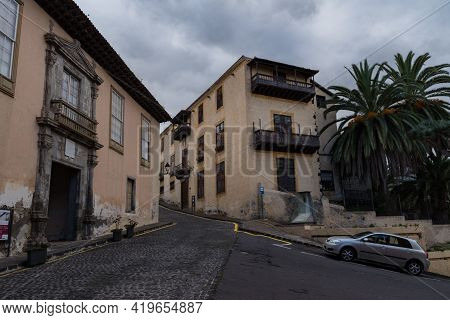 La Orotava, Spain -january 12, 2020: Medieval House Casa Lercaro In Old Town Of La Orotava, Tenerife