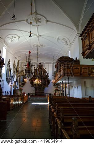 Interior View Of The Holmens Church (danish: Holmens Kirke) With A Fully Intact 350-year-old Renaiss