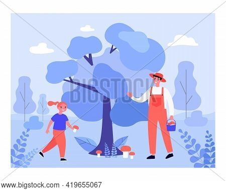 Happy Man And Girl Collecting Mushrooms. Forest, Flora, Food Flat Vector Illustration. Outdoor Activ