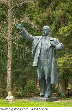 Druskininkai, Lithuania - May 1 2021: Lenin Abandoned Bronze Sculpture, Russian Revolutionary, Polit