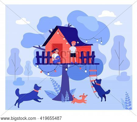 Scared Kids Hiding In Tree House From Dogs. Park, Attack, Ladder Flat Vector Illustration. Dangerous