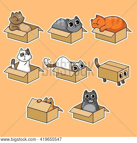 Cute Cats In Boxes Stickers Collection For T-shirt Design. Cartoon Funny Kittens Sitting In Carton O