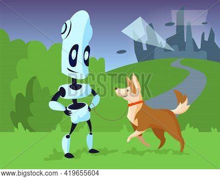 Cartoon Robot Walking Dog In Park Illustration. Mechanical Character Smiling With Happy Pet On Leash