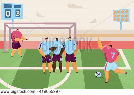 Cartoon Football Player Kicking Penalty Flat Vector Illustration. Intense Football Match, Decisive G