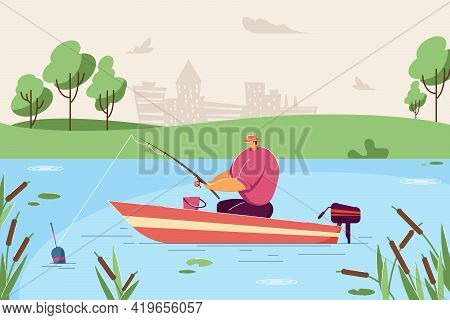 Lonely Man Fishing In Boat. Flat Vector Illustration. Fisherman Sitting In Boat In Middle Of Lake Or