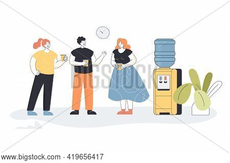 Colleagues Talking On Coffee Break. Cartoon Young People Gossiping Next To Water Dispenser Flat Vect