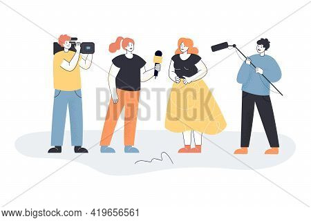 Female Journalist Interviewing Woman. Cartoon Character With Microphone, Operator Shooting For Video