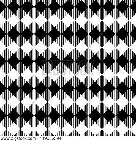 Black And White Scotland Textile Seamless Pattern. Fabric Texture Check Tartan Plaid. Abstract Geome