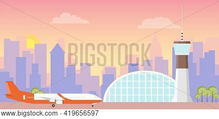 The Airport. Airport Building And Plane On The Runway. Vector. Cartoon Illustration. Vector.